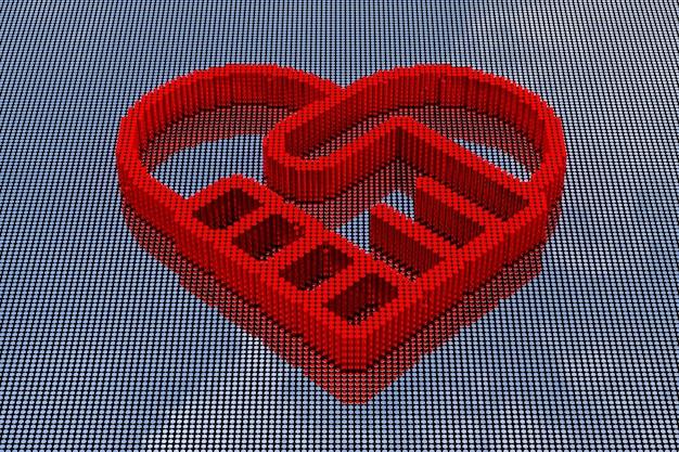 Symbol uścisk dłoni tworzących styl sztuki pikseli serca. renderowanie 3d