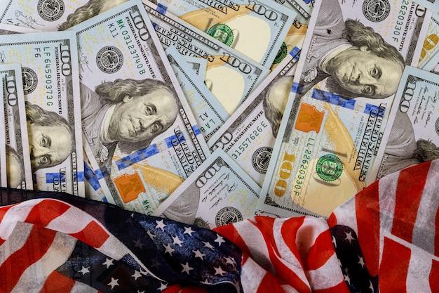 Symbol wolności amerykańską flagę waluta usa dolar amerykański