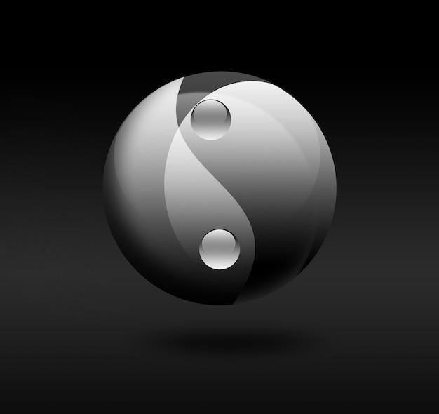 Symbol yin yang na ciemnym tle