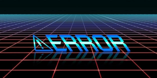 Symbol zagrożenia usterka komputera błąd systemu komputerowego koloru neonowego