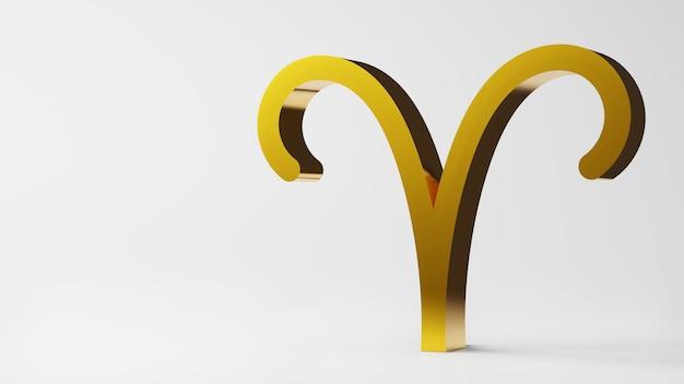 Symbol zodiaku baran znaki złoto na białym tle renderowania 3d