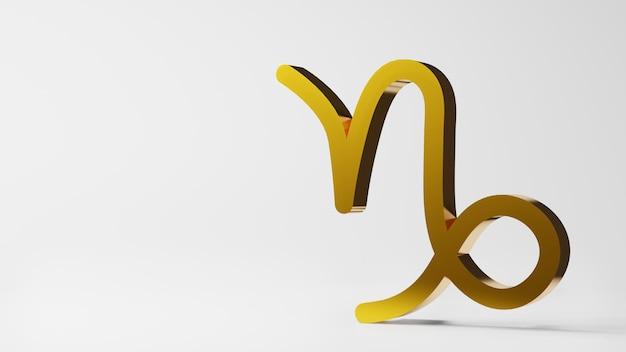 Symbol zodiaku koziorożec znaki złoto na białym tle renderowania 3d