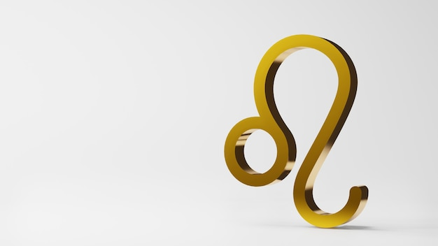 Symbol zodiaku leo znaki złoto na białym tle renderowania 3d