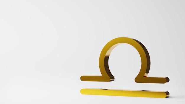 Symbol zodiaku libra znaki złoto na białym tle renderowania 3d