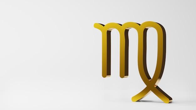Symbol zodiaku panna znaki złoto na białym tle renderowania 3d