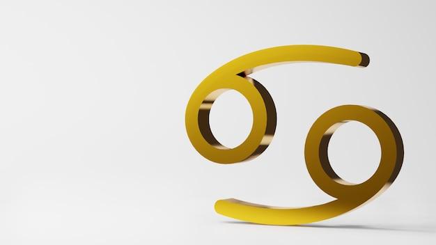 Symbol zodiaku rak znaki złoto na białym tle renderowania 3d