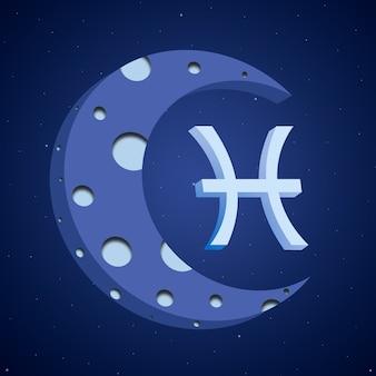 Symbol zodiaku ryby z księżycem 3d