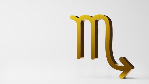 Symbol zodiaku skorpio znaki złoto na białym tle renderowania 3d
