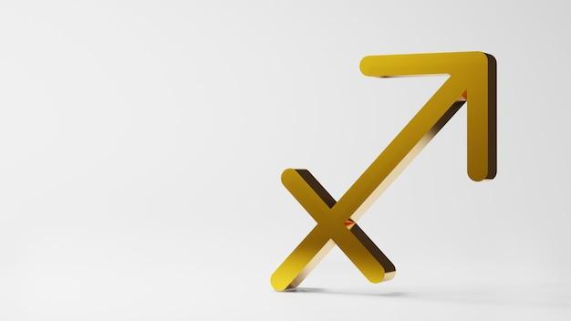 Symbol zodiaku strzelec znaki złoto na białym tle renderowania 3d