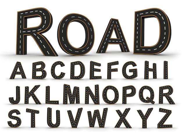 Symbole alfabetyczne postaci w formie drogi z białymi i żółtymi oznaczeniami linii