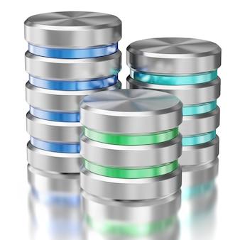 Symbole ikony bazy danych przechowywania danych na dysku twardym