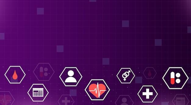 Symbole medyczne w sześciokątnej ramce na niebieskim tle technologii 3d