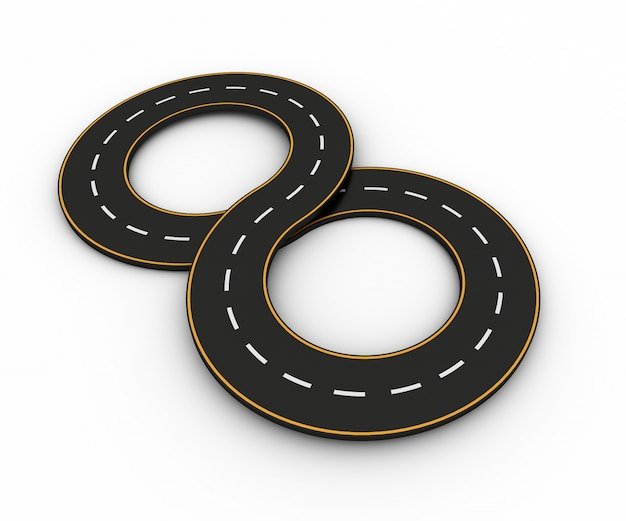 Symbole nieskończoności w postaci drogi z białą i żółtą linią