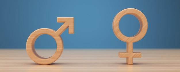 Symbole płci męskiej i żeńskiej renderowania 3d