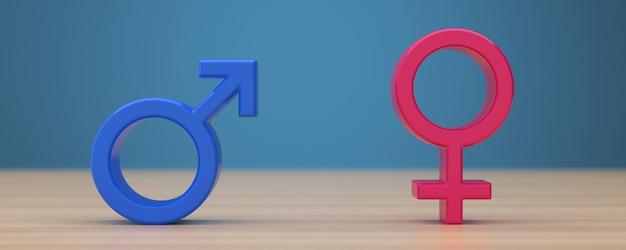 Symbole płci na niebieskim tle