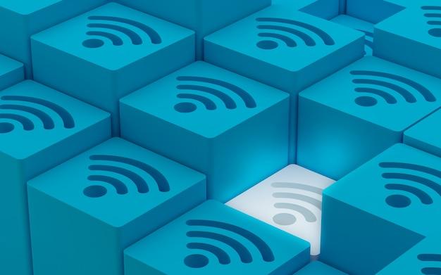 Symbole sieci bezprzewodowej 3d wi fi