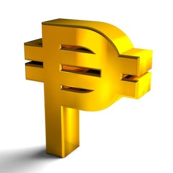 Symbole waluty peso kuby złoty kolor renderowania 3d na białym tle