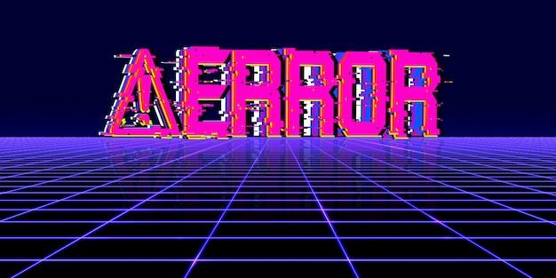 Symbole zagrożeń komputerowych błąd hakerski z lat 80-tych, neonowe kolory, cyfrowe piksele, błąd.