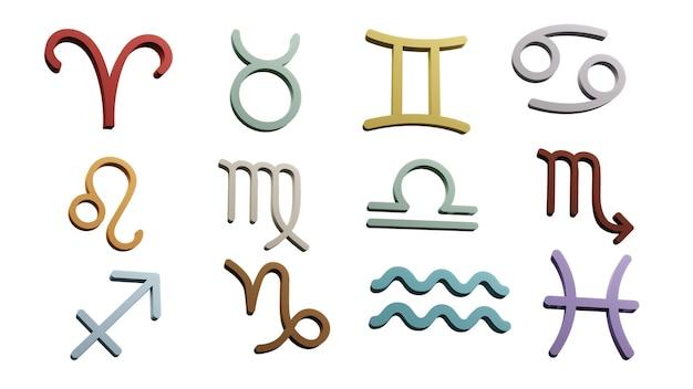 Symbole zodiaku znaki renderowania 3d.