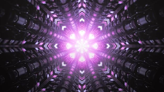 Symetryczna ilustracja 3d abstrakcyjnego ciemnego tunelu z ornamentem geometrycznym i żywym fioletowym oświetleniem