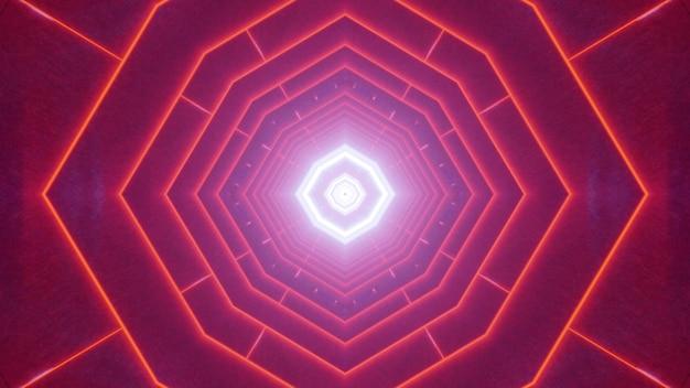 Symetryczna ilustracja 3d abstrakcyjnego tunelu geometrycznego oświetlonego żywymi czerwonymi liniami neonu