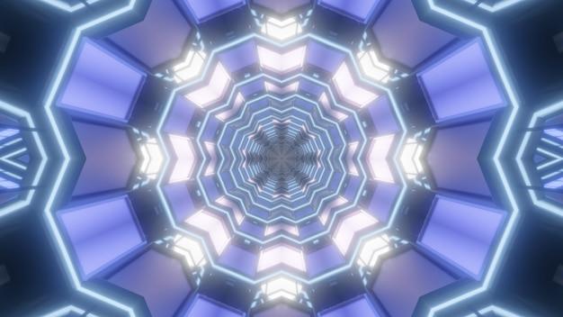 Symetryczna ilustracja 3d abstrakcyjnego tunelu kryształowego z ornamentem geometrycznym i niebieskimi światłami