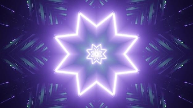 Symetryczna ilustracja 3d fioletowych gwiazd neonowych jasno świecących w abstrakcyjnym kalejdoskopowym tunelu