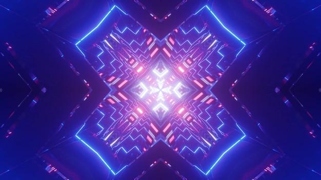 Symetryczna ilustracja 3d jasnego tunelu w kształcie krzyża, oświetlonego błyszczącymi neonowymi liniami