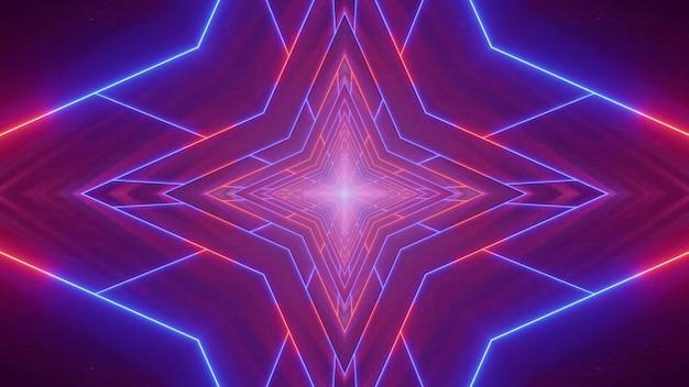 Symetryczna ilustracja 3d jasnych czerwonych i niebieskich linii neonowych tworzących tunel w kształcie gwiazdy