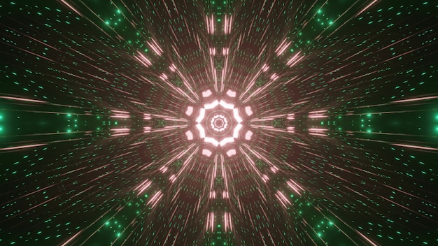 Symetryczna ilustracja 3d jasnych różowych i zielonych iskier świecących i tworzących okrągły ornament