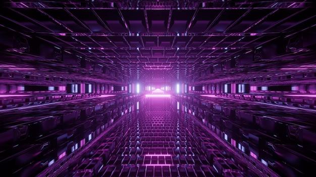 Symetryczna ilustracja 3d kreatywnego, abstrakcyjnego futurystycznego tunelu oświetlonego żywymi fioletowymi światłami