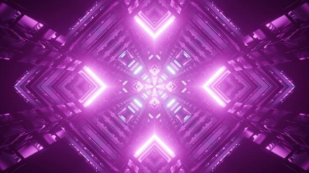 Symetryczna ilustracja 3d tunelu w kształcie rombu świecącego jasnymi lampami w kolorze fioletowym