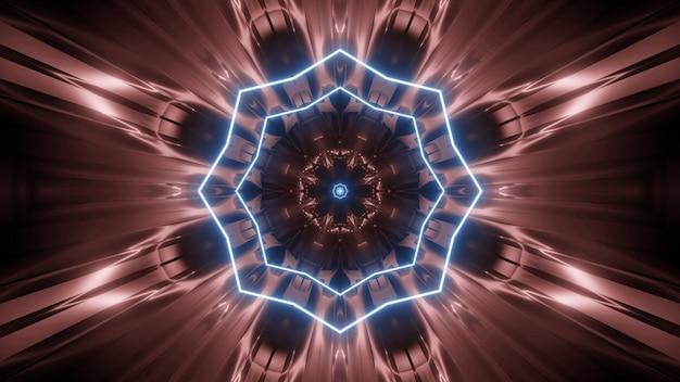 Symetryczne 3d ilustracji abstrakcyjnego brązowego tła z niebieskimi liniami neonowymi tworzącymi błyszczący ornament