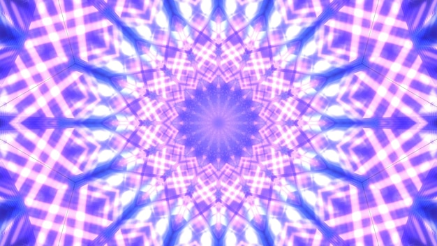 Symetryczne 3d ilustracji abstrakcyjnego tła z ornamentem klejnot utworzony z błyszczących fioletowych linii