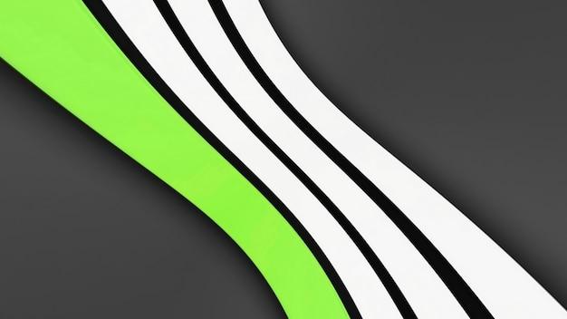 Symetryczne biało-zielone paski na szarym tle, miejsce na tekst. obraz trójwymiarowy