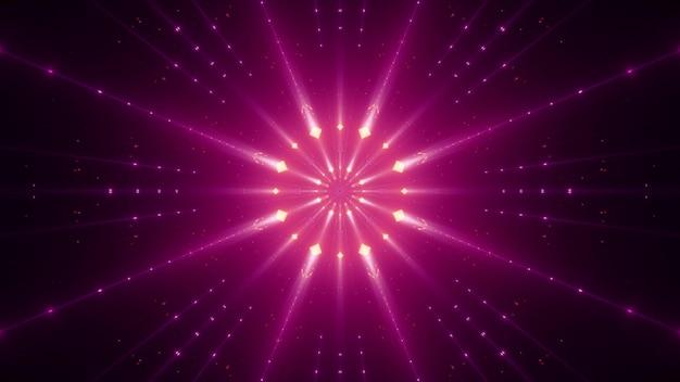 Symetryczne promienie w kolorze jaskrawego różu, świecące neonem i rozświetlające ciemność
