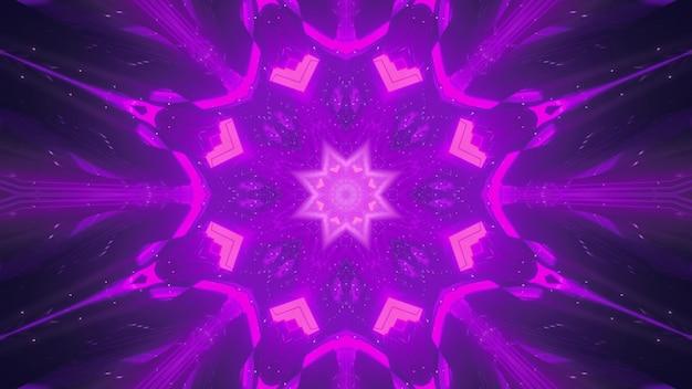 Symetryczny abstrakcyjny kalejdoskopowy ornament mieniący się w ciemności żywym neonowym światłem