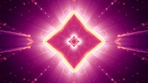 Symetryczny abstrakcyjny kryształ w kształcie rombu mieniący się żywym światłem neonowym