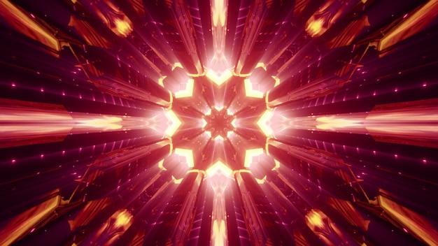 Symetryczny abstrakcyjny tunel z kryształowymi ścianami lśniącymi czerwonym światłem neonu