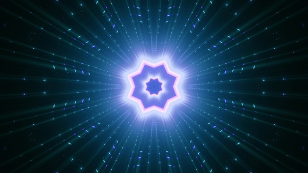 Symetryczny ornament w kształcie gwiazdy z belkami świecącymi niebieskim światłem neonowym