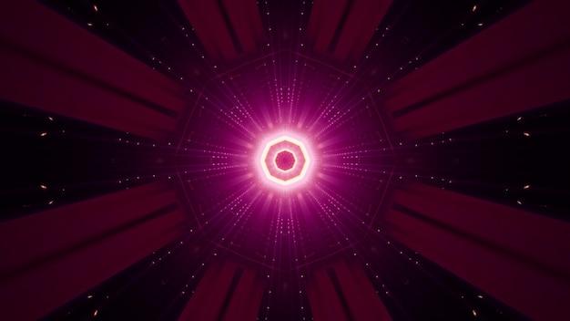 Symetryczny ornament w kształcie ośmiokąta i promienie świecące żywym neonowym światłem