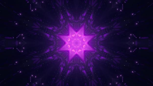 Symetryczny, żywy ornament w kształcie gwiazdy świecący neonowym fioletowym światłem