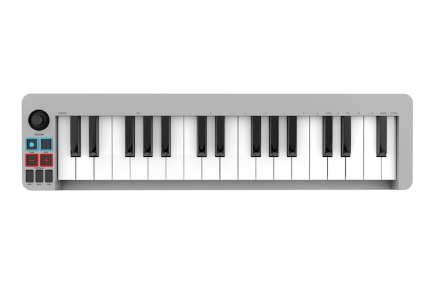 Syntezator pianina cyfrowego na białym tle. renderowanie 3d