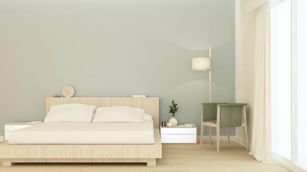 Sypialni wewnętrznej przestrzeni meble 3d rendering i tło ściennej dekoraci minimalny styl