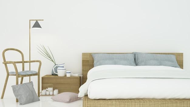 Sypialni wewnętrzny japoński minimalny styl - 3d renderingu dekoraci bielu tło