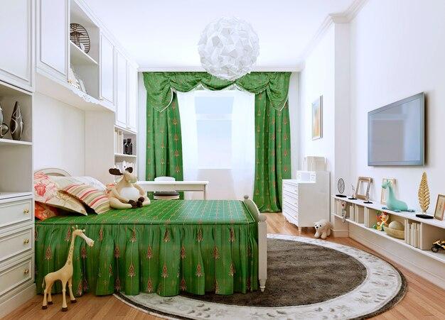 Sypialnia dziecięca w klasycznym stylu z białymi ścianami i zielonymi meblami oraz zielonymi zasłonami.