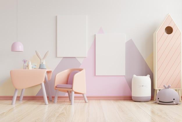 Sypialnia dziecięca w pastelowych kolorach na pustej ścianie w pastelowych kolorach, renderowanie 3d