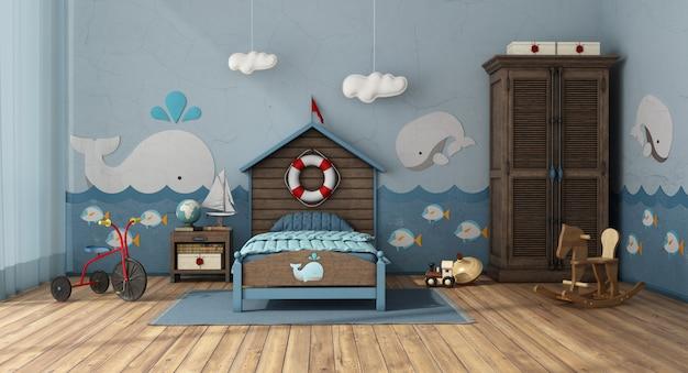 Sypialnia dziecięca w stylu retro z drewnianym łóżkiem i szafą