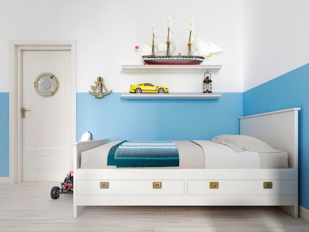 Sypialnia dziecięca z białym łóżkiem w pokoju i półką z zabytkowym statkiem i różnymi zabawkami. renderowanie 3d