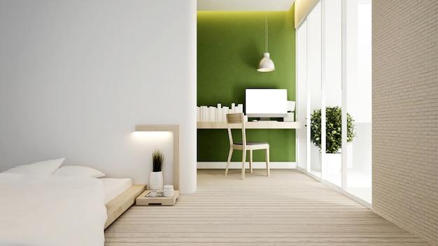 Sypialnia i miejsce pracy na zielono.
